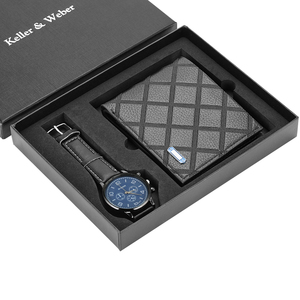 Image 5 - גברים שעונים קוורץ עור מינימליסטי שעון יד כרטיס מחזיק ארנק שעון גברים מתנת סט לאבא הבעל החבר Reloj hombre