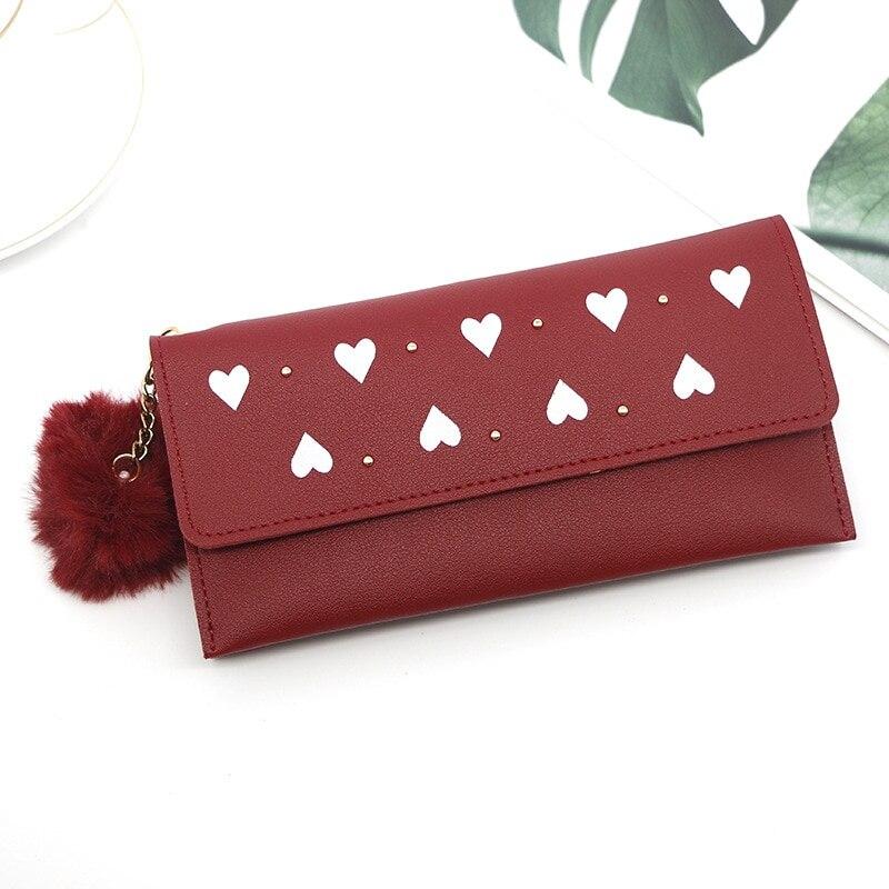 Long Women's Wallet Female Purses Tassel Card Holder Wallets Female Pu Leather Clutch Money Bag Pu Leather Wallets