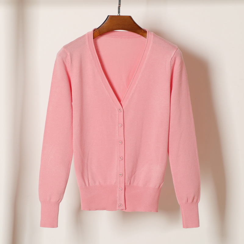 new delivery  Long sleeve knitwear cardigan sweater young girl students spring  autumn short thin coat 2