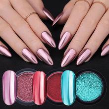Pó metálico para unhas, espelhado ouro rosado, glitter para unhas, holográfico, cromado, pó brilhante, pigmento para manicur, arte para as unhas