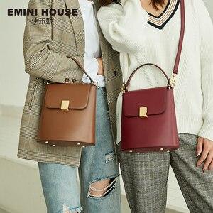 Image 1 - EMINI HOUSE Padlock Bucket Bag Female Crossbody Bags For Women Split Leather Solid Color Luxury Handbags Women Bags Designer