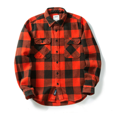 100% cotton heavy weight retro vintage classic red black spring autumn winter long sleeve plaid shirt for men women 13
