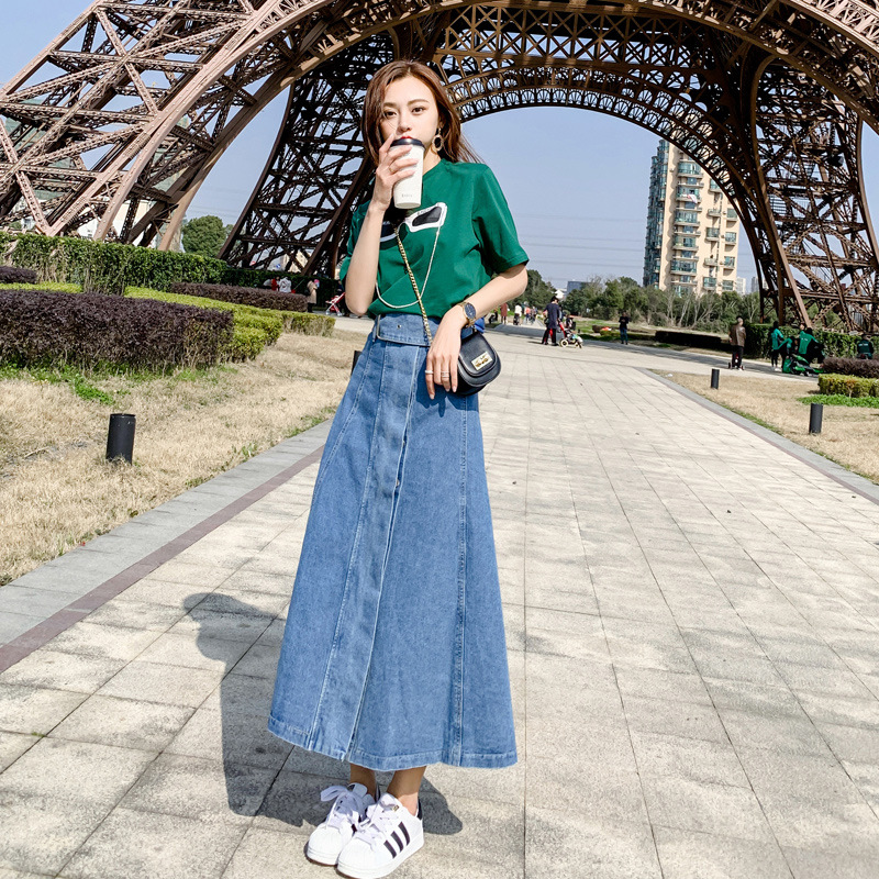 New Style Mori Girl Line Single Breasted Slimming Cowboy High Waist Skirt Big Skirt A With Short Sleeve Solid Color