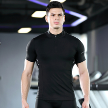 New Quick-dry Exercise T-shirt Men's High-collar Zip-up Short-sleeved Fitness Suit High-stretch Quick-dry PRO Running Jacket цена 2017