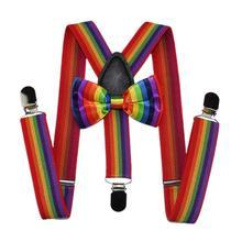 2 Pcs Cute Fashion Kids Bow Tie Strap Clip Set Rainbow Striped Leading Knot Children Bib Pants Accessories for Boys Girls