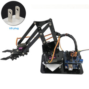 4DOF Robotic Arm Set Claw MG90S Acrylic Mechanical Manipulator Kids Assembly Toys Grab Learning Kit Remote Control For Arduino