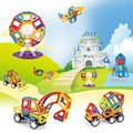 114 PCS Tamanho Normal Magnético Blocos de Construção do Modelo 3D Tijolos Crianças Brinquedos Educativos Engenharia veículo roda Gigante