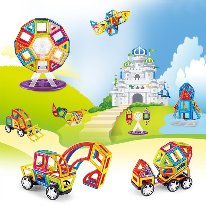 MAGBROTHER 114PCS Magnetic Building Blocks Educational Tiles Kit  Magnet Designer Construction Toys Set For Kids Gfit