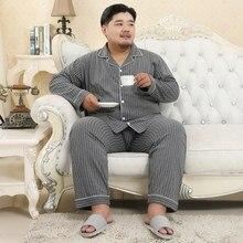Мужской осенне-зимний хлопок 5XL вертикальный пижамный комплект большой мягкий нагрудный домашний костюм