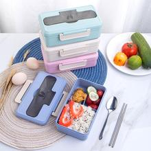 Wheat Straw Lunch Box for Kids Student Microwave Bento Lunch Box Picnic Durable Food Container Lunchbox Food Storage Container