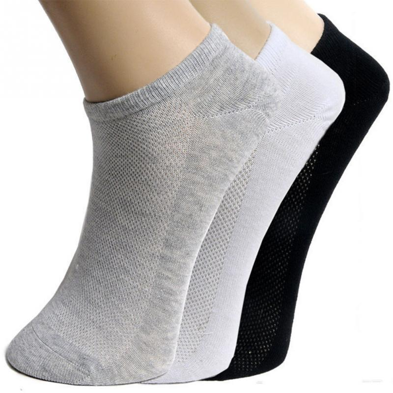 20Pcs=10Pair Men Short Socks Spring Summer Breathable Men's Ankle Socks Invisible Mesh Solid High Quality Male Boat Socks Black