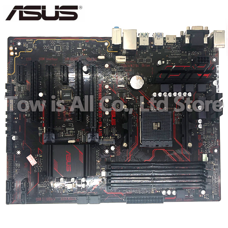 ASUS PRIME <font><b>B350</b></font>-PLUS original motherboard <font><b>B350</b></font> Socket AM4 M.2 DDR4 64GB USB3.0 USB3.1 boards SATA3 used PC desktop motherboard image