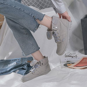 Image 5 - AT UR HAND 2019 Fashion Sneakers Female High Top Canvas Shoes Women Casual Shoes White Flat Female Lace Up Solid Trainers