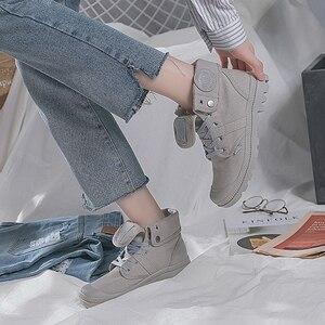 Image 5 - OP UR HAND 2019 Fashion Sneakers Vrouwelijke Hoge Top Canvas Schoenen Vrouwen Casual Schoenen Witte Platte Vrouwelijke Lace Up Solid trainers