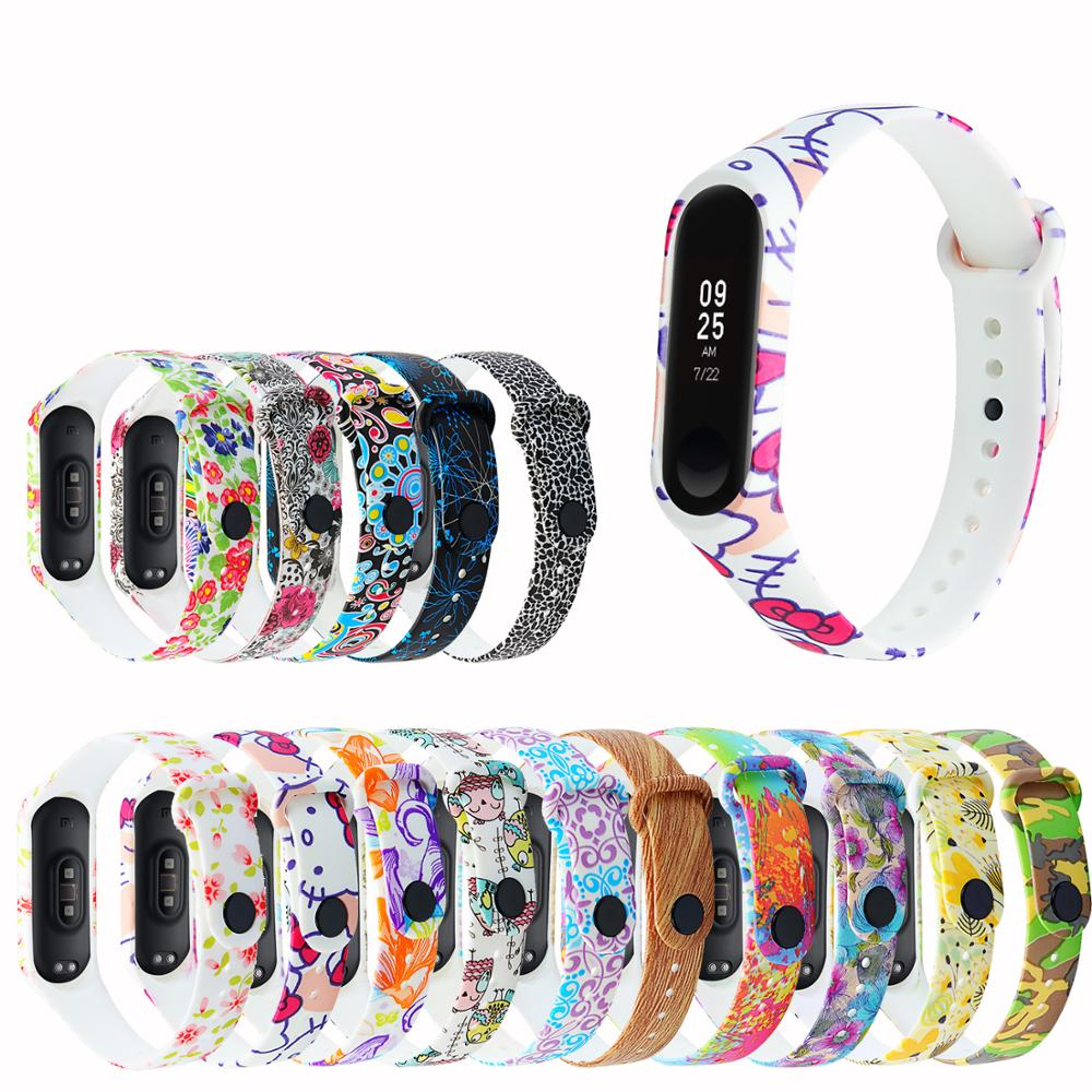 Mi Band 4 Strap For Xiaomi Mi Band 3 Accessories Camouflage Printed Silicone Beauty Flower Belt Replacement With M3M4 Band