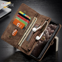 Kisscase Pu Leather Wallet Case For Iphone 7 Cover 8 Xr 6 11 X 11Pro For Iphone Xs Max Flip Case Detachable Card Slot Phone Bag