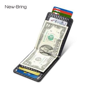 Image 5 - NewBring etui na karty organizator Carbon fibre Look klips do pieniędzy do portfela RFID Block prawo jazdy gotówka mężczyźni biznes etui na kartę kredytową