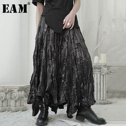 [EAM] High Elastic Waist Black Pleated Irregular Long Temperament Half-body Skirt Women Fashion New Spring Autumn 2021 1U965