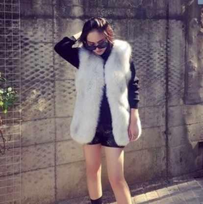 2019 Vetement abrigo de piel sintética de Invierno para mujer chaleco peludo más tamaño abrigo Lolita Delgado Sexy Chaleco de oficina peludo largo chalecos AW220