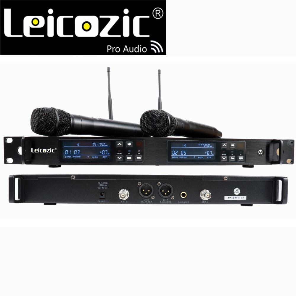 Profissional sem Fio Microfone sem Fio Duplo de Leikozic Mikrafon Microfone Inalambricos Profesionales Mike 751-800 Mhz