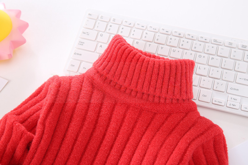 PHILOLOGY pure color flash yarn fall winter boy girl kid thick turtleneck shirts solid high collar pullover sweater 4