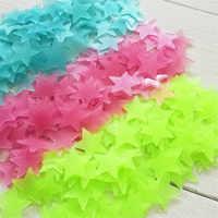 Świecące w ciemności 100 sztuk/worek 3cm zabawki świetlista gwiazda naklejki sypialnia Sofa fluorescencyjne zabawka do malowania naklejki pcv dla pokoje dla dzieci