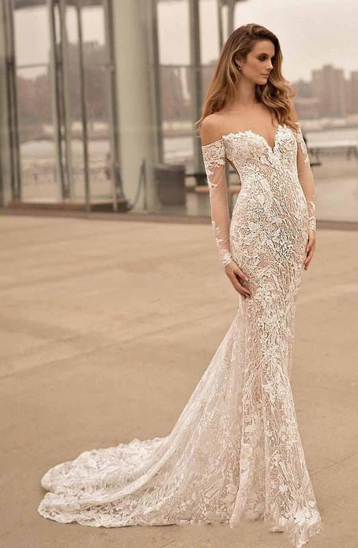 Berta 2020 Mermaid Long Sleeves Wedding Dresses Off The Shoulder
