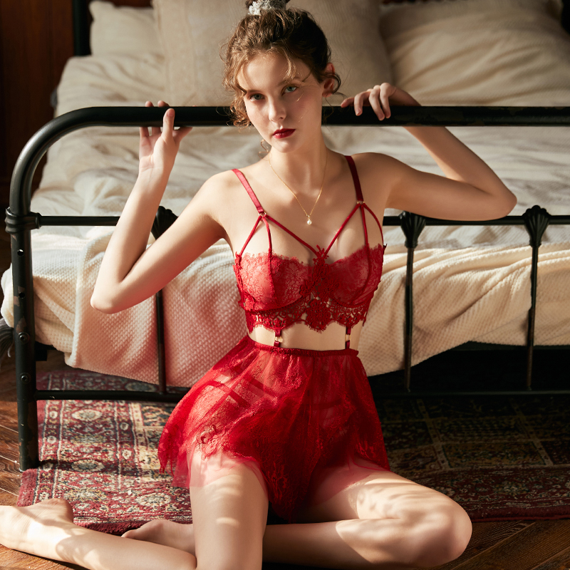 Women Sexy Lingerie Water-soluble Lace Flower Eyelash Temptation Sling Nightgown Stripper 3 Colors Ultra Short Night Sexy Dress