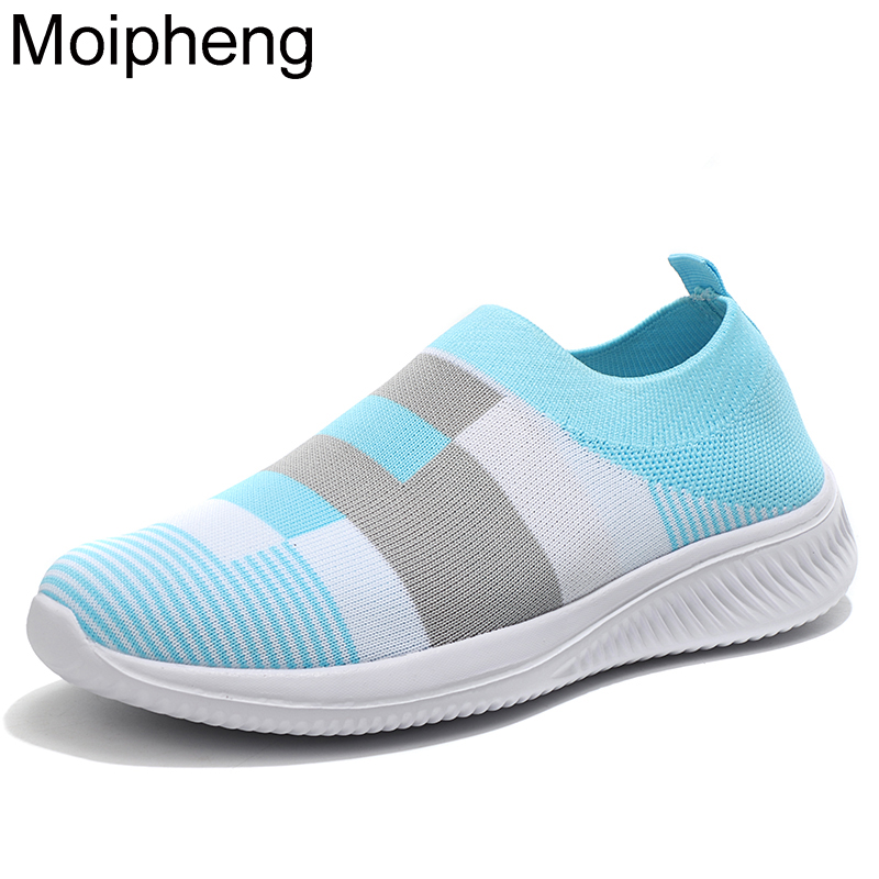 Moipheng Quality Mesh Sneakers Women Colorful Vulcanized Shoes Sock Ladies Autumn Slip On Flat Shoes Plus Size Loafers Walking