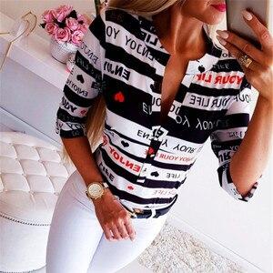 30 @ Новое поступление, женская футболка с V-образным вырезом, футболка на пуговицах с принтом, футболка с длинным рукавом, топы, женская одежд...