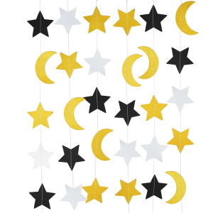 Image 3 - Eid Mubarak Cupcake Topper String Glitter Silver Gold Black Moon Star Garland Bunting Ramadan Islam Muslim Event Party Supplies