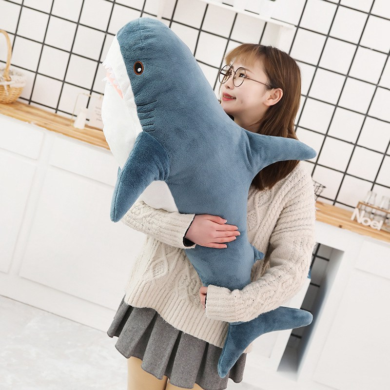 45-140CM Big Size Shark Plush Toy Soft Stuffed speelgoed Animal Reading Pillow for Birthday Gifts Cushion Gift For Children(China)
