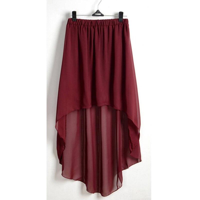 red-irregular-high-low-elastic-waist-chiffon-skirt