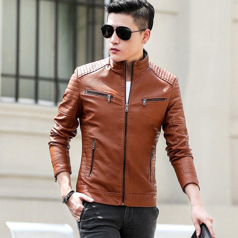 Мужская кожаная куртка, осенняя новая мотоциклетная Повседневная винтажная куртка, Мужская одежда, модная байкерская куртка на молнии с ка...