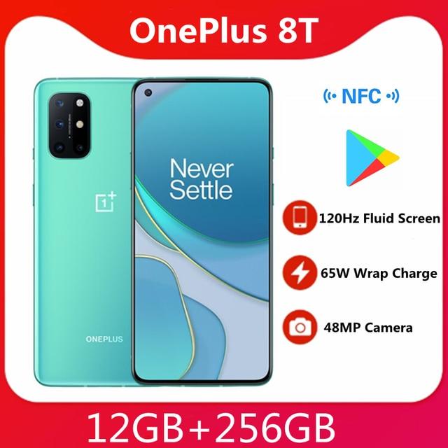 Global Rom OnePlus 8T 12GB RAM 256GB ROM 65W Charger 4500mAh 120HZ Screen Snapdragon 865 NFC 6.55 inch 48MP Smart Phone 1