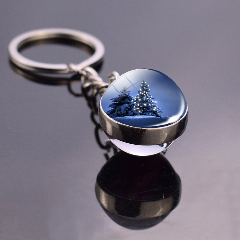 Christmas Jewelry Christmas Theme Glass Cabochon Key Chains Santa Claus Christmas Tree Pattern Double Side Glass Ball Keychain 1