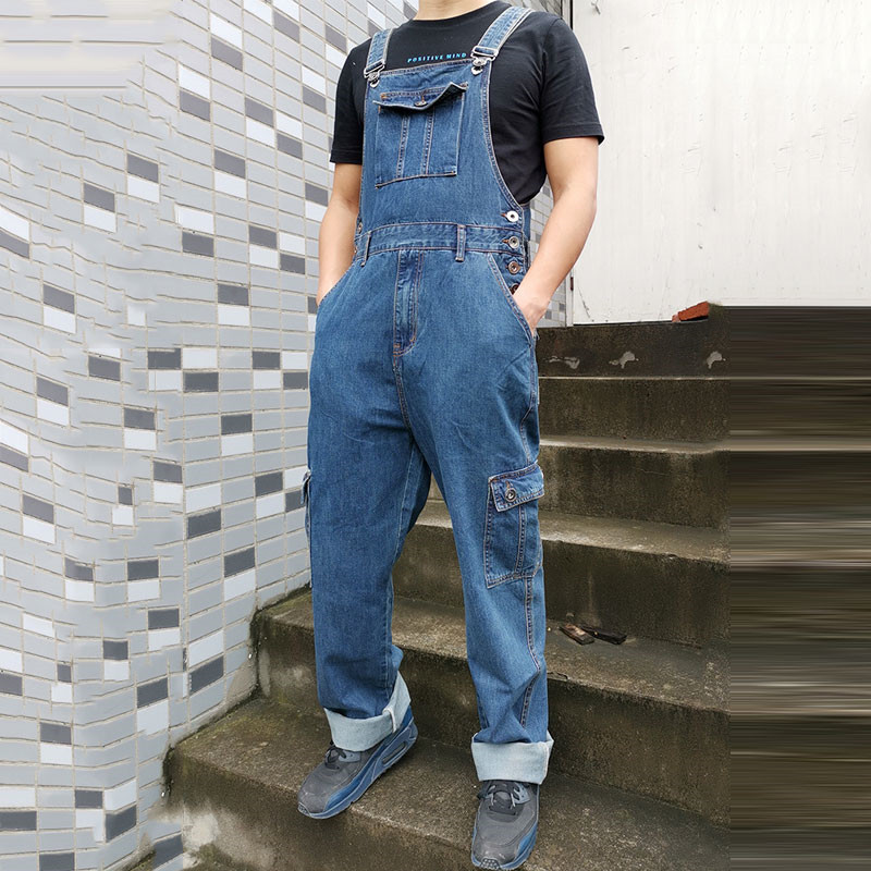 Jeans Men Men's Denim Overalls Men's Overalls Jumpsuit Multi-pocket Strap Straight Pants Blue Jeans More Sizes 30-44 46