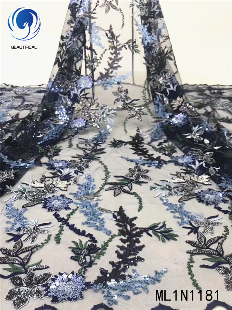 Beautifical african lace fabrics Latest design embroidery sequins tulle lace fabric for dress 5yards nigerian fabric ML1N1181
