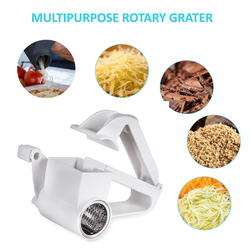 Stainless Steel Cheese Grater With Drum Blade Handheld Parmesan Hard Cheese Shredder Slicer Grinder cheese spreader image