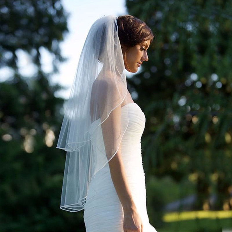 Two-Layer Veil Wedding-Vail Veu-De-Noiva Ivory White Comb Short Tulle with Solid-Color