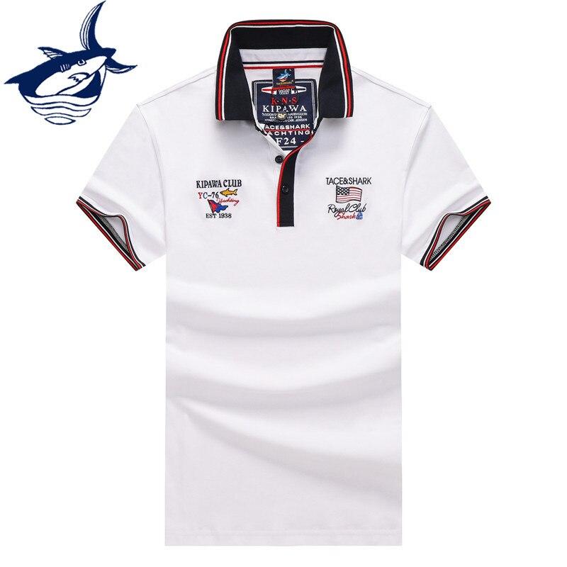 Мужская хлопковая рубашка-поло Tace & Shark, Однотонная рубашка-поло с короткими рукавами и вышивкой, 100% хлопок