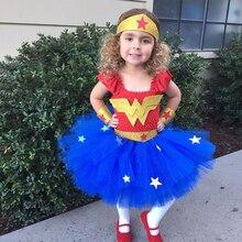Детские платья для дня рождения, Детский костюм для косплея на Хэллоуин, новый год, комплект с повязкой на голову, новое чудо-девочка, платье-...