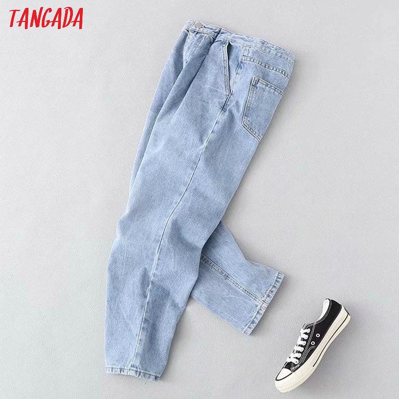 Tangada 2020 Fashion Women Loose Basic Jeans Long Trousers Pockets Zipper Loose Streetwear Female Blue Denim Pants 7B02