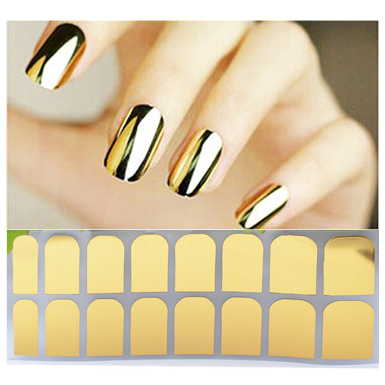 Cross Border Specifically For Foreign Trade Hot Selling Nail Polish Nail Sticker Flower Stickers Gold And Silver Black Metal Sti