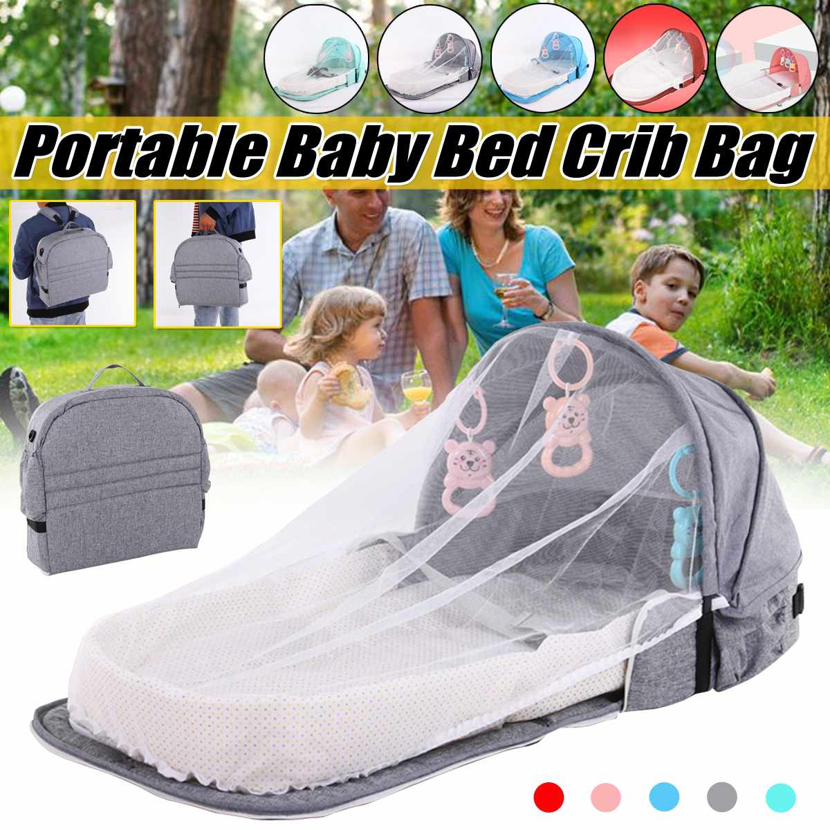 Multi-function Folding Mummy Bag Baby Bed Child Foldable Baby Crib Cot With Mosquito Net Breathable Infant Sleeping Basket