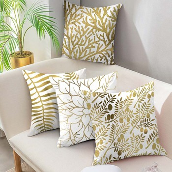 Fuwatacchi Gold Geometric Cushion Cover Gold Leaf Soft Throw Pillow Cover Decorative Sofa Pillow Case Pillowcase New Home Decor fuwatacchi cute unicorn cushion cover gold stamping throw pillow cover new rainbow christmas decorative pillows for home chair