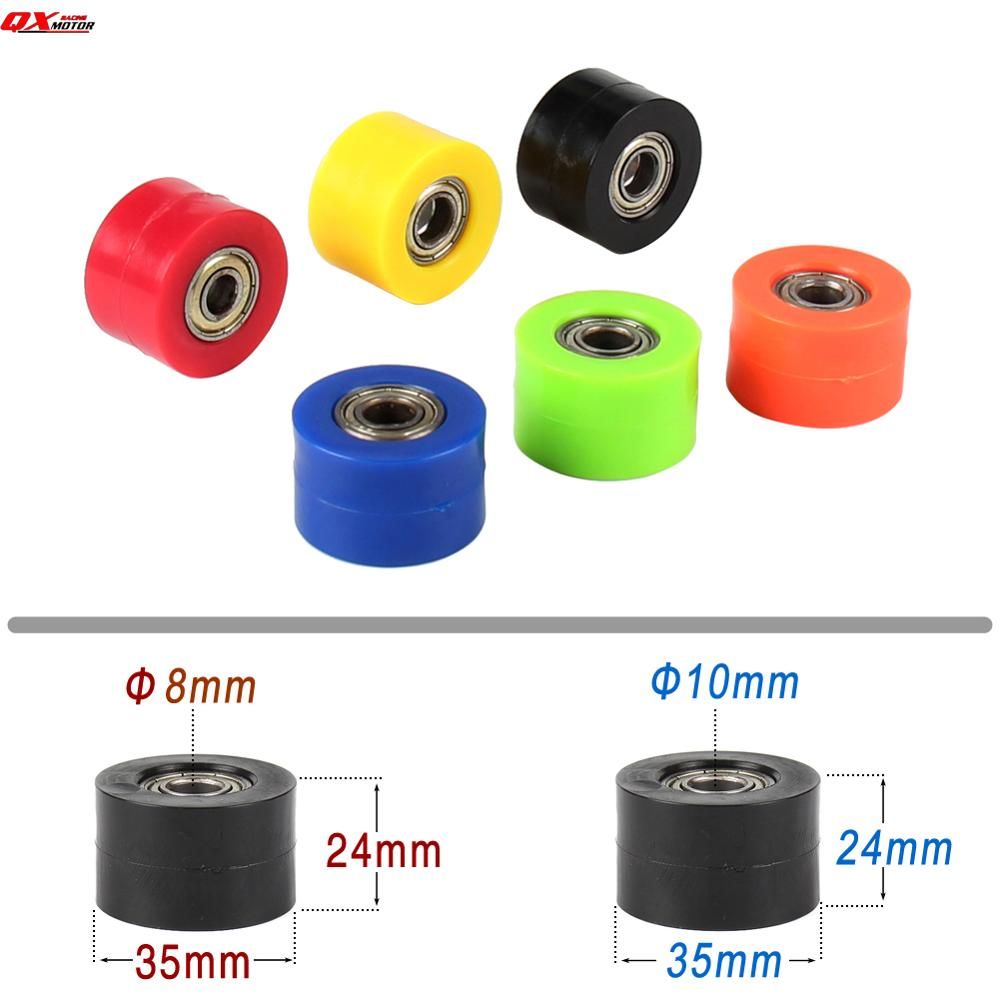 8mm 10mm Chain Roller Tensioner Pulley Wheel Guide For CRF YZF RMZ KLX Kayo BSE Motorcycle Motocross Pit Dirt Bike