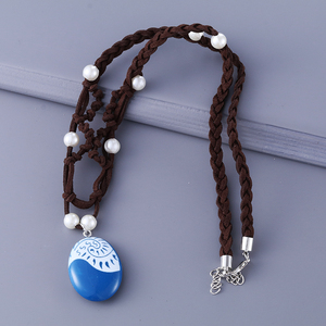 Image 5 - 20 pçs/lote moda jóias filme charme moana oceano corda corrente colares pedra azul pingentes couro camurça gargantilha colar