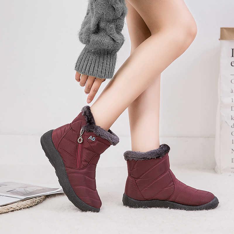 Kadın botları su geçirmez kar botları kadın peluş kış çizmeler kadın sıcak ayak bileği Botas Mujer kış ayakkabı kadın artı boyutu 43