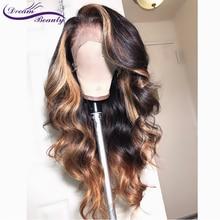 13x6 глубокий часть синтетические волосы фронта шнурка человеческих волос парики 180% плотность бразильский Реми волнистые человеческие волосы предварительно сорвал